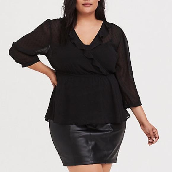 TORRID Size 6 Sheer Black Baby Doll Blouse